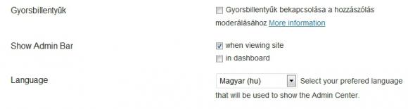 Nyelválasztás felhasználóknak - WP Native Dashboard
