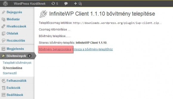 InfiniteWP kliens telepítés lépései