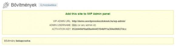 InfiniteWP kliens hitelesítési adatok